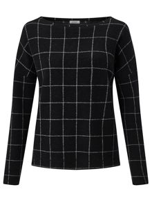 Jigsaw Checked Brushed Sweatshirt