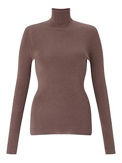 Silk Cotton Polo Neck Sweater