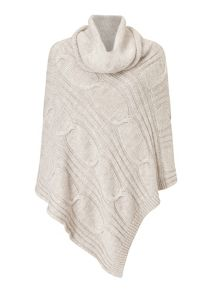 Jigsaw Cable knit roll neck poncho