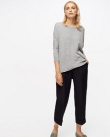 Jigsaw Button Back Drop Hem Sweater