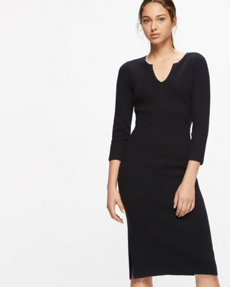 Jigsaw Silk Tencel Fitted Knit Dress