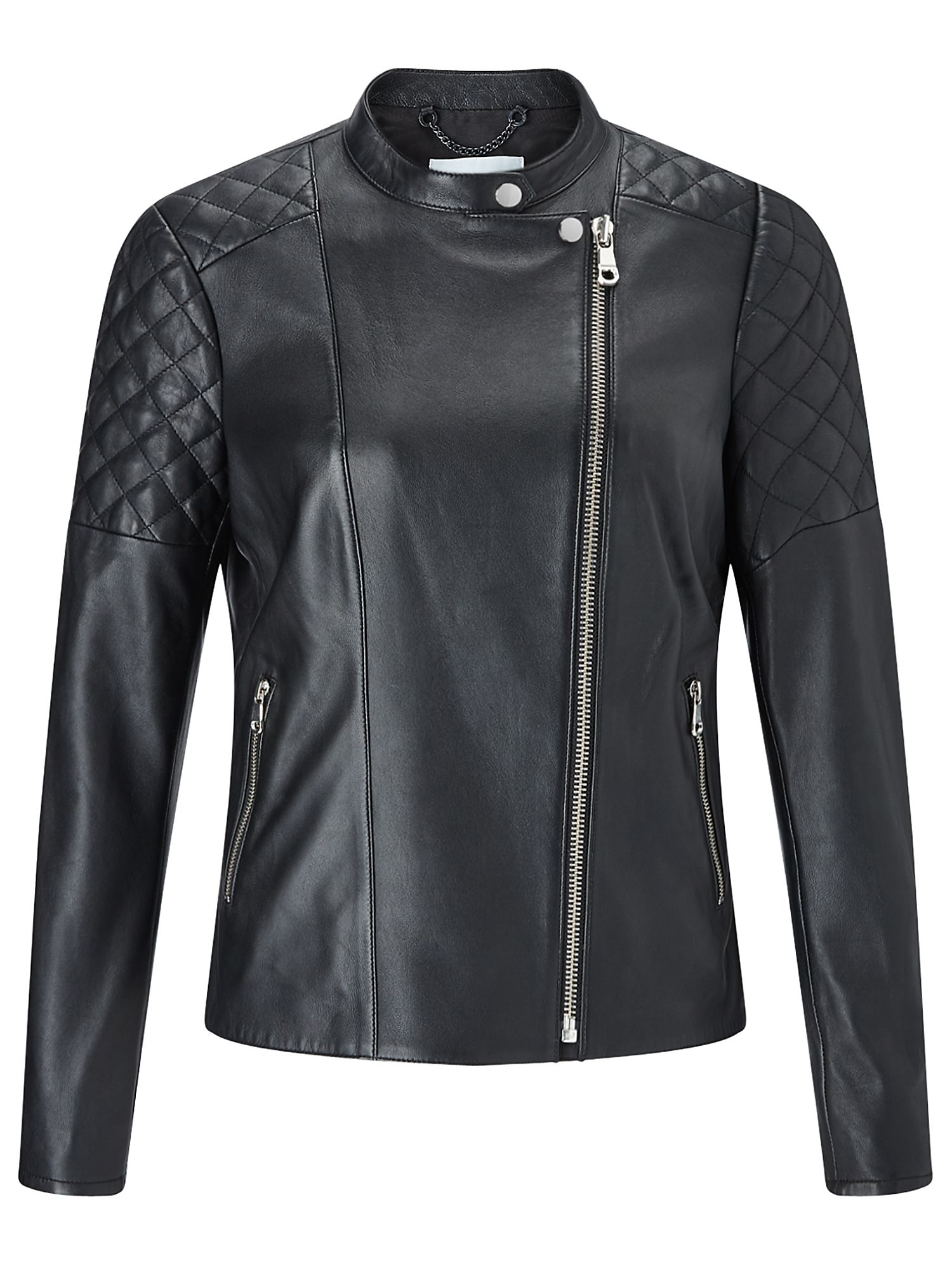 Jigsaw Nappa Leather Biker Jacket, Black