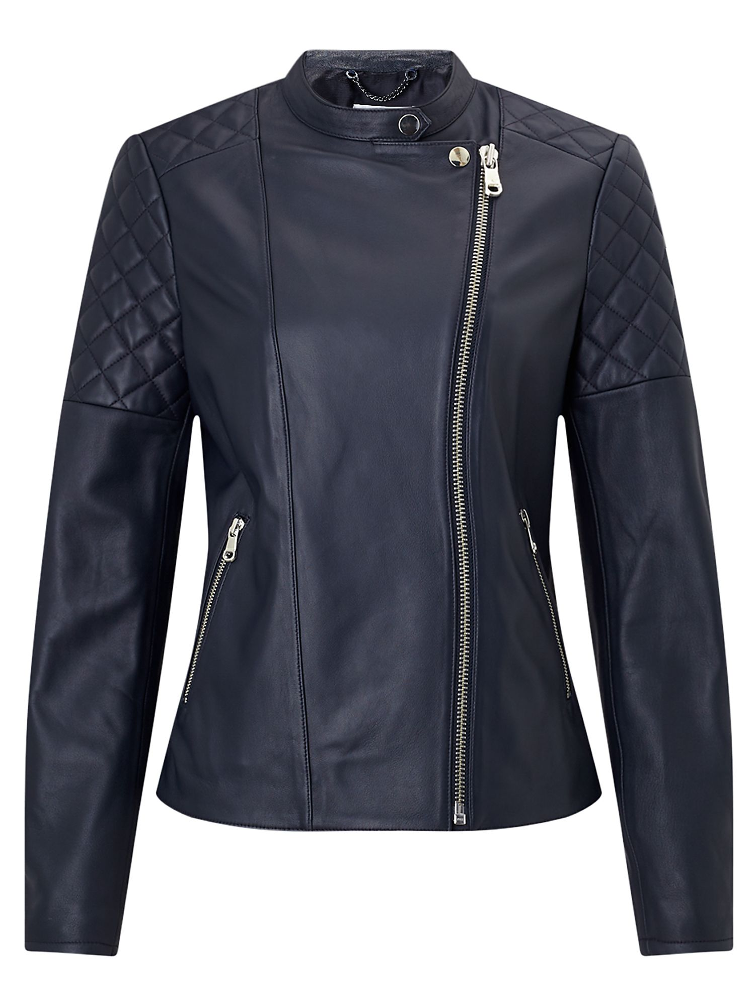 Jigsaw Nappa Leather Biker Jacket, Ink