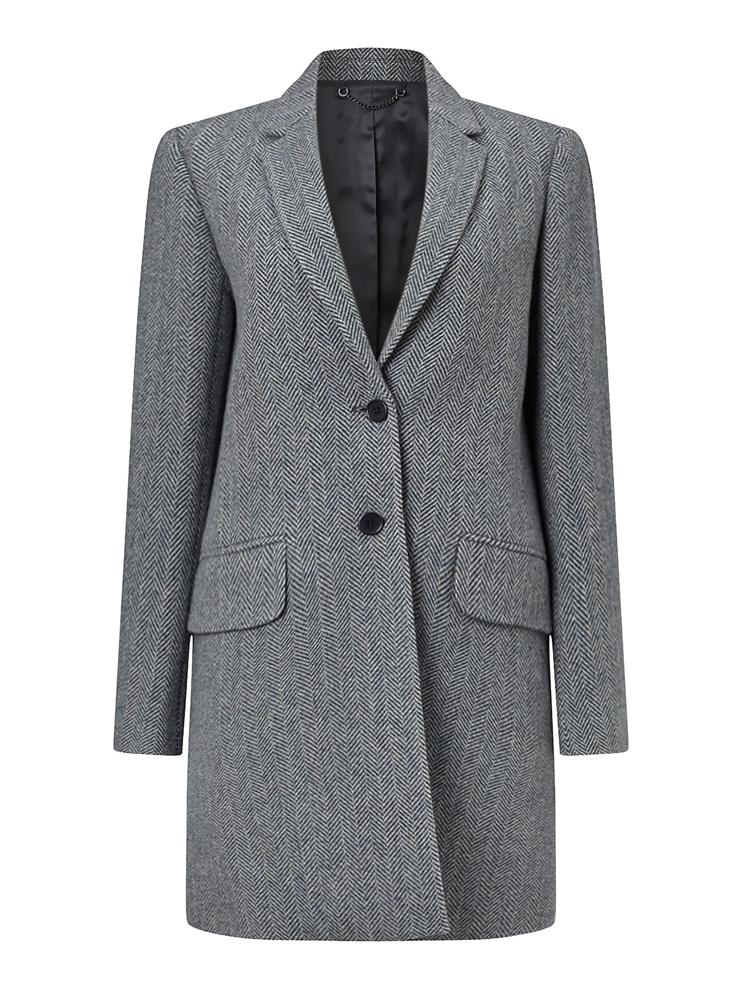 Jigsaw Herringbone Wool City Coat, Blue