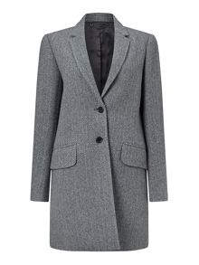 Jigsaw Herringbone Wool City Coat