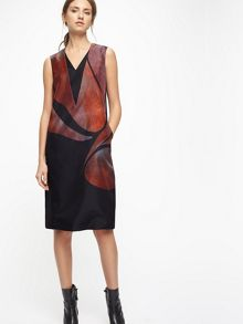 Jigsaw Silhouette Double V Neck Dress