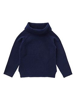 Girls Ribbed Front Cowl Neck Sweater