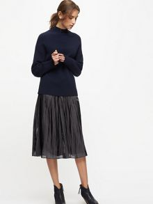 Jigsaw Pleated Iridescent Midi Skirt