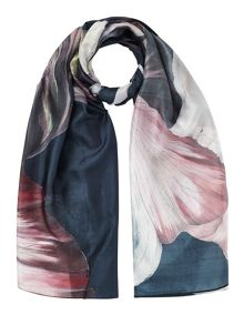 Jigsaw Magnified floral silk scarf