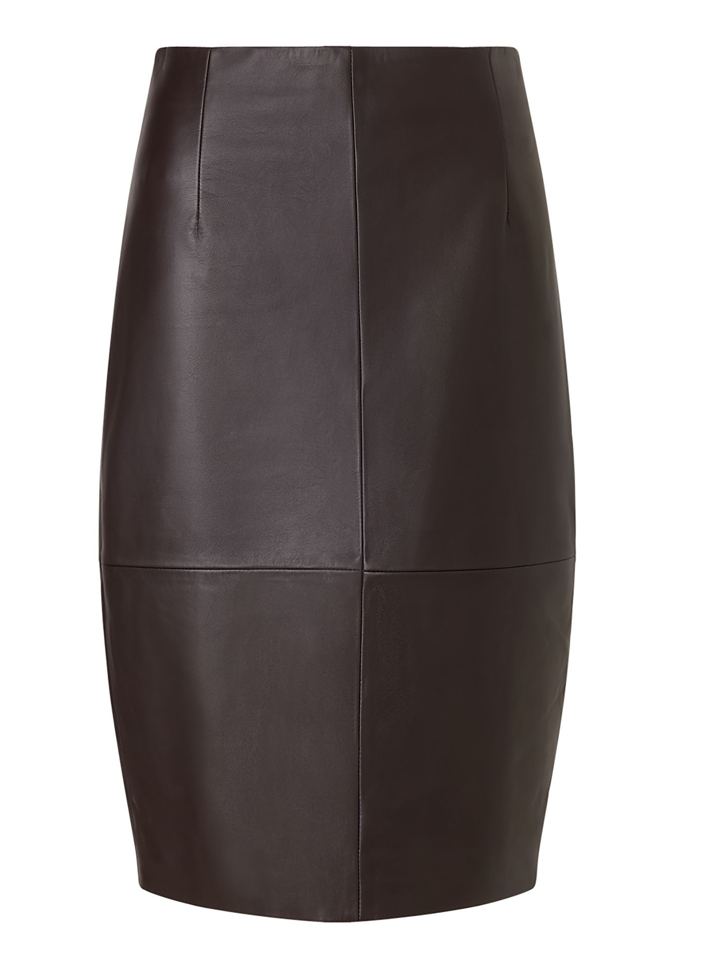 Jigsaw Leather High Waisted Pencil, Cocoa