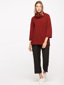 Jigsaw Merino Cross Rib Cowl Sweater