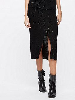 Sparkle Knitted Slit Skirt