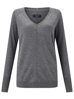 Wafer Cashmere V Neck Jumper