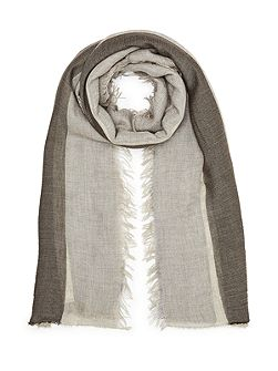 Wide stripe fringe scarf