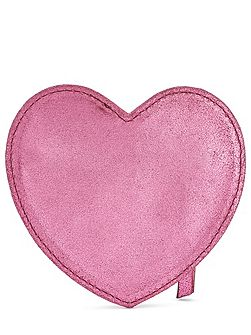 Girls Leather Heart Coin Purse