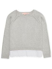 Jigsaw Girls Broderie Hem Jumper