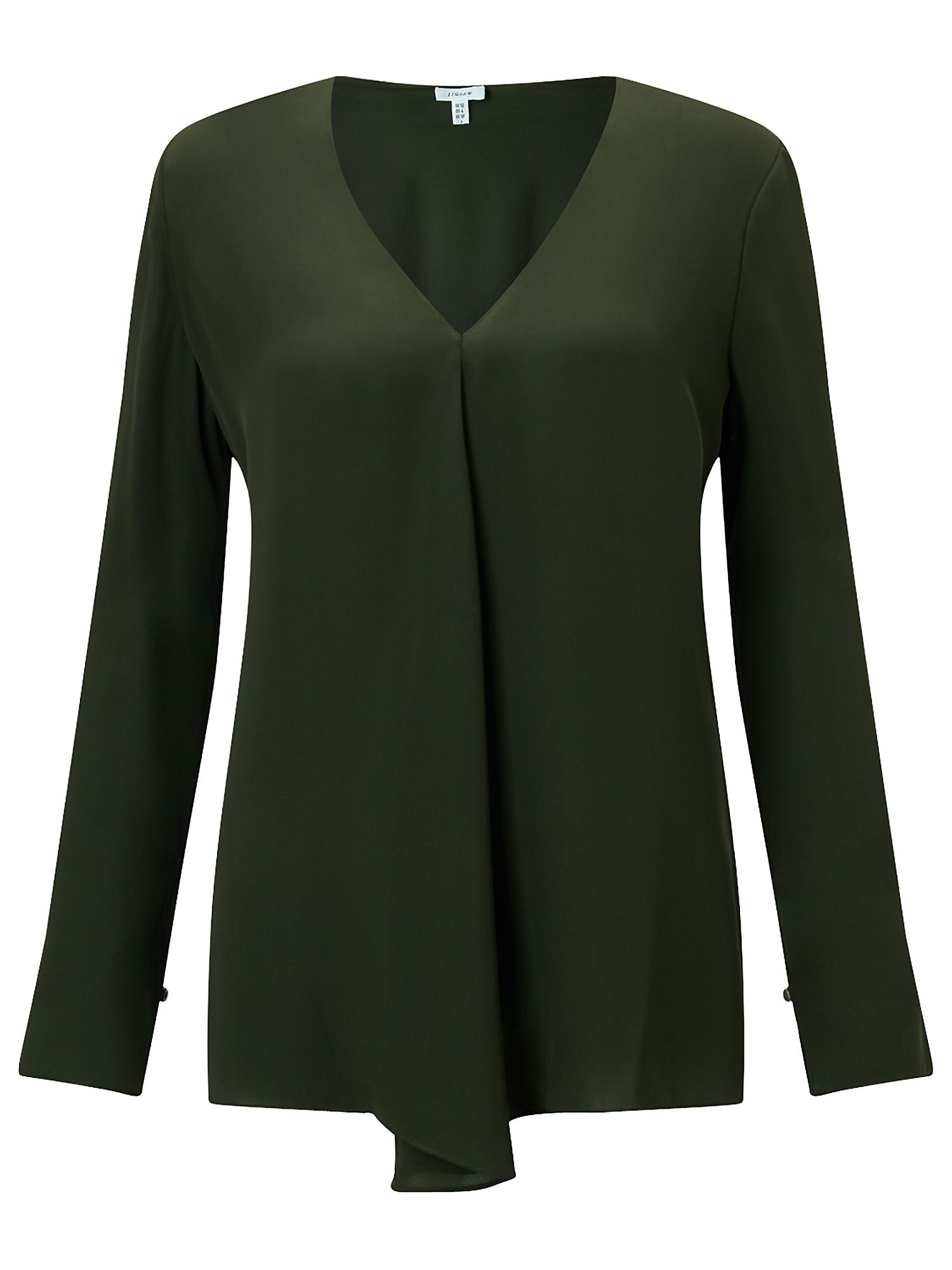 Jigsaw V Neck Drape Top, Dark Green
