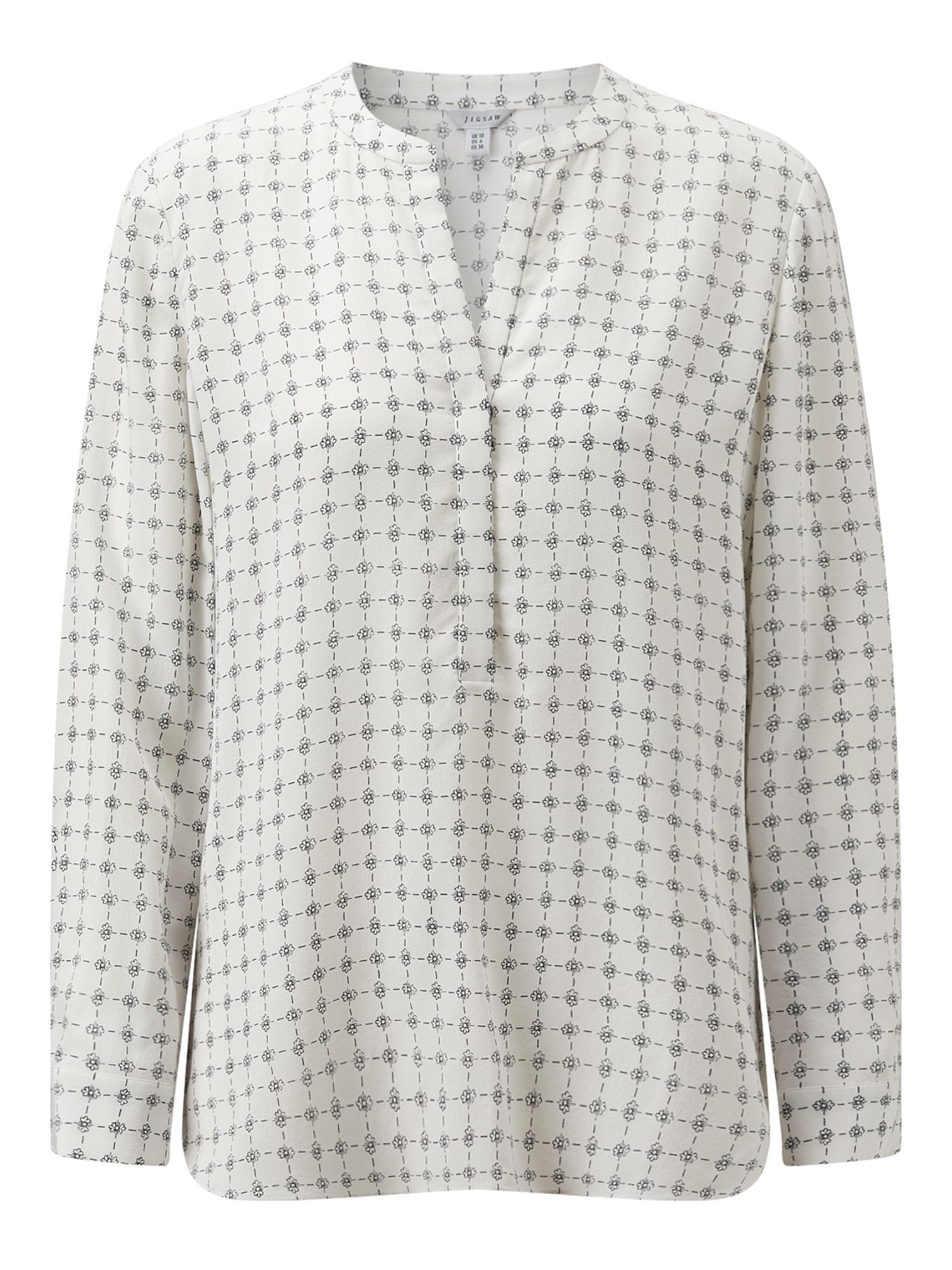 Jigsaw Grid Floral Silk Blouse, White