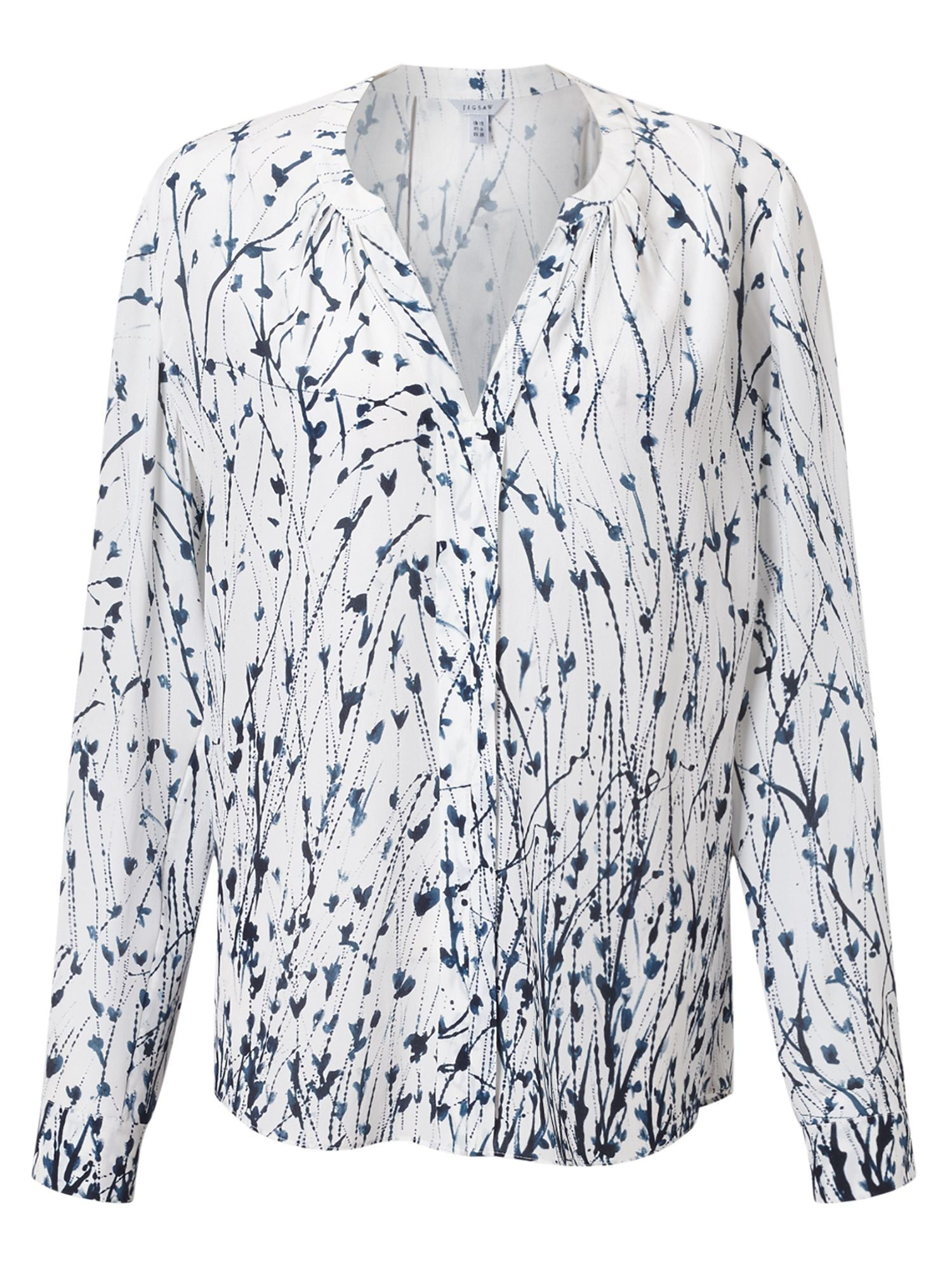 Jigsaw Cornflower Silk Blouse, White