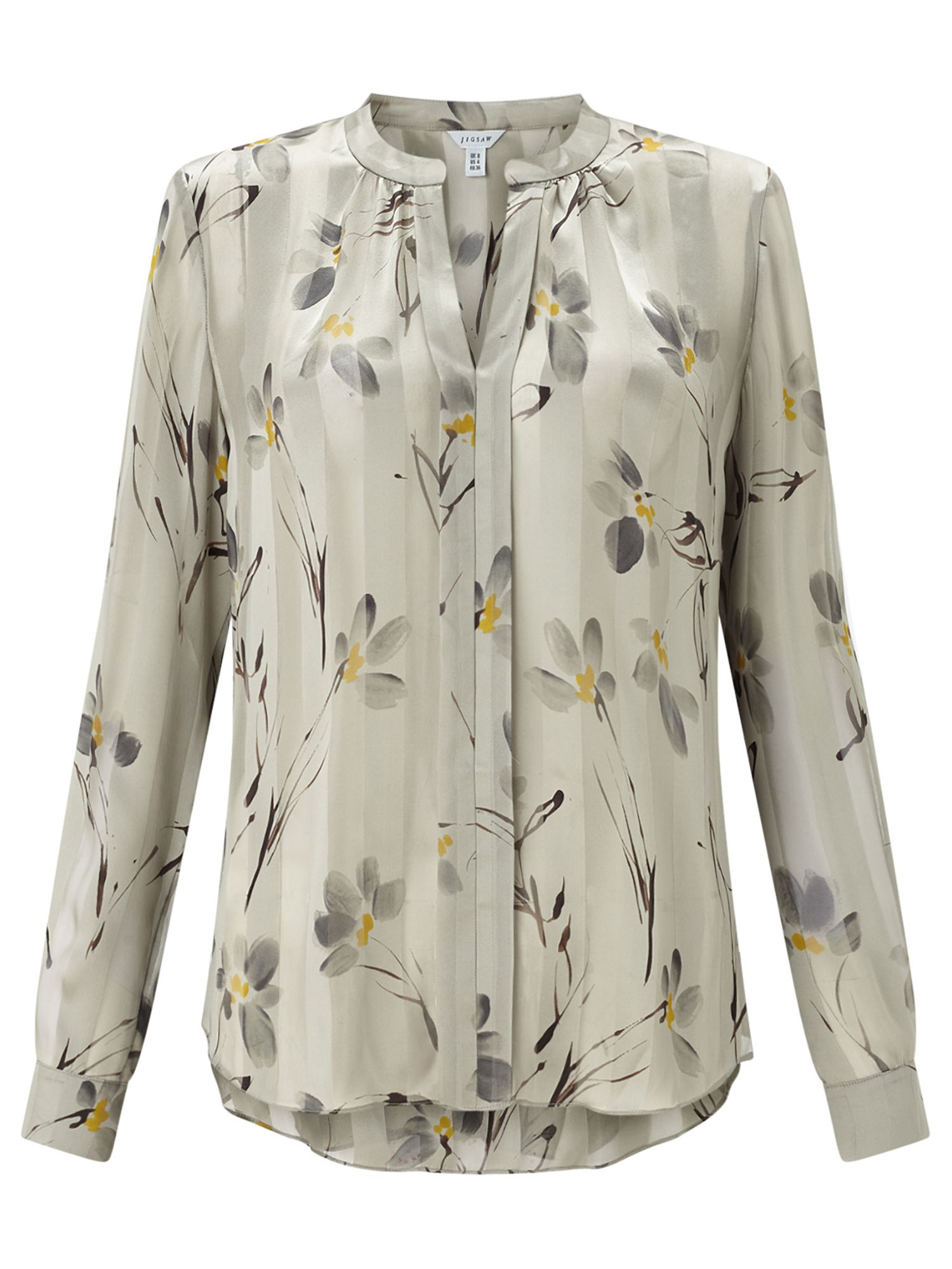 Jigsaw Floating Aster Silk Blouse, Green