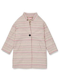 Girls Stripe Jacquard Coat