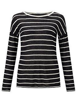 Stripe Drop Sleeve Slim Tee
