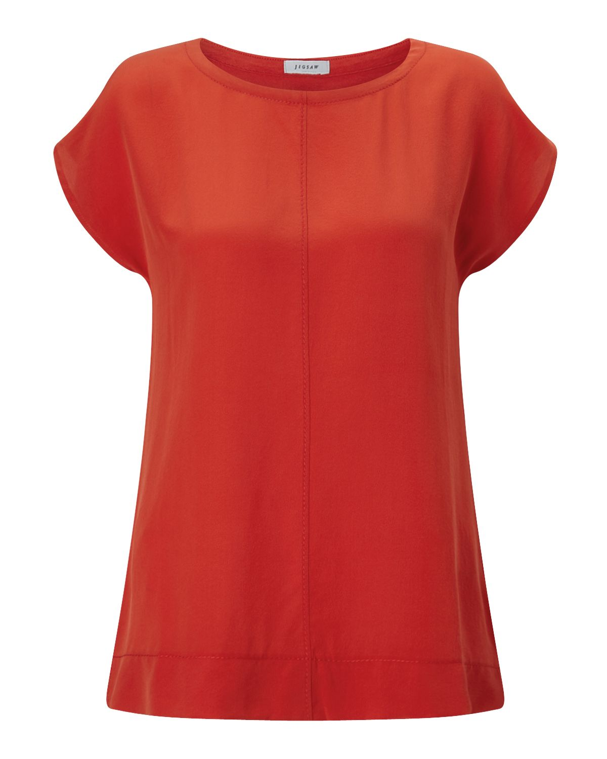 Jigsaw Silk Front Stitch Detail Top, Red
