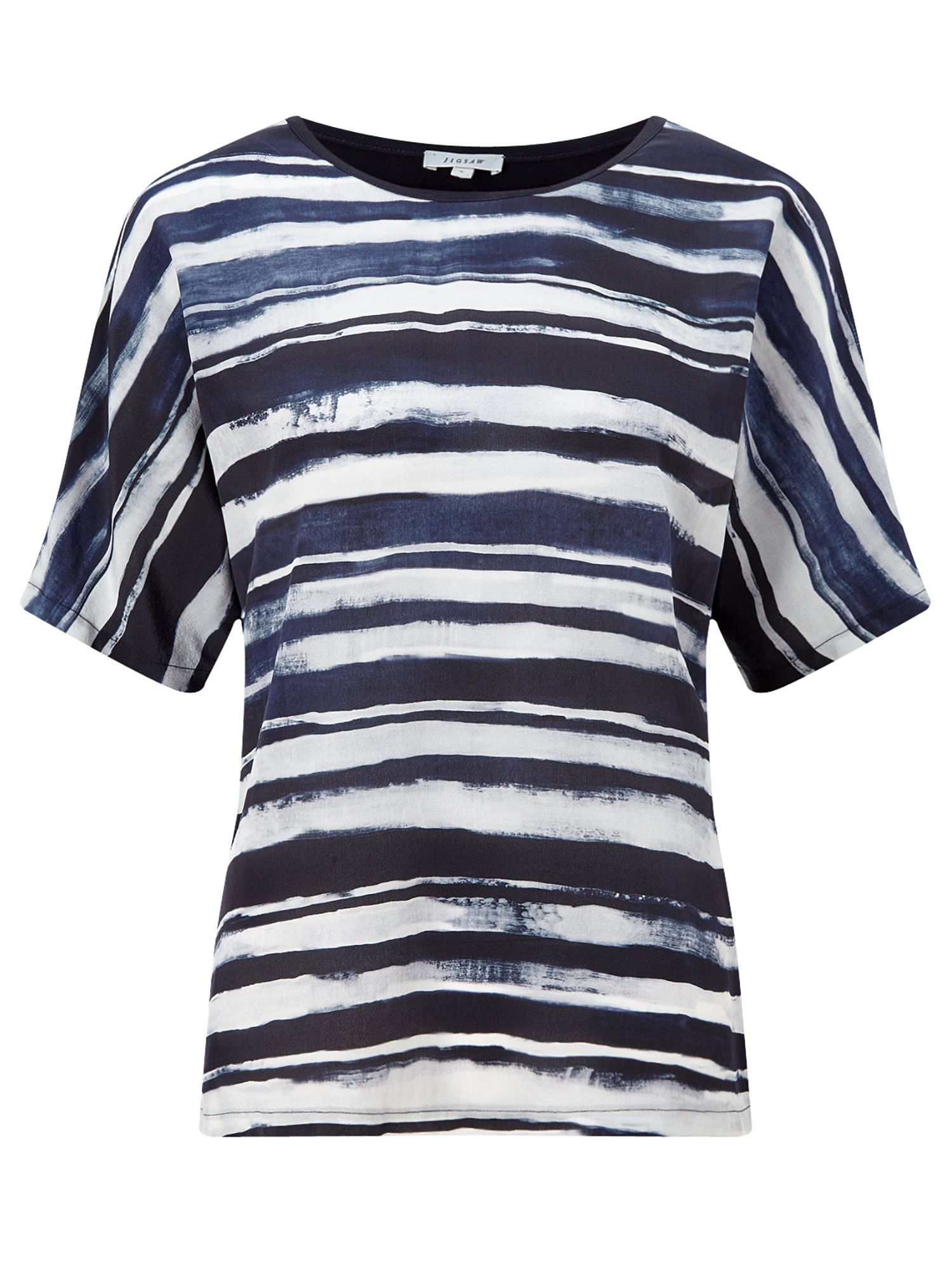 Jigsaw Broken Stripe Silk Front Top, Blue
