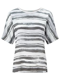 Broken Stripe Silk Front Top