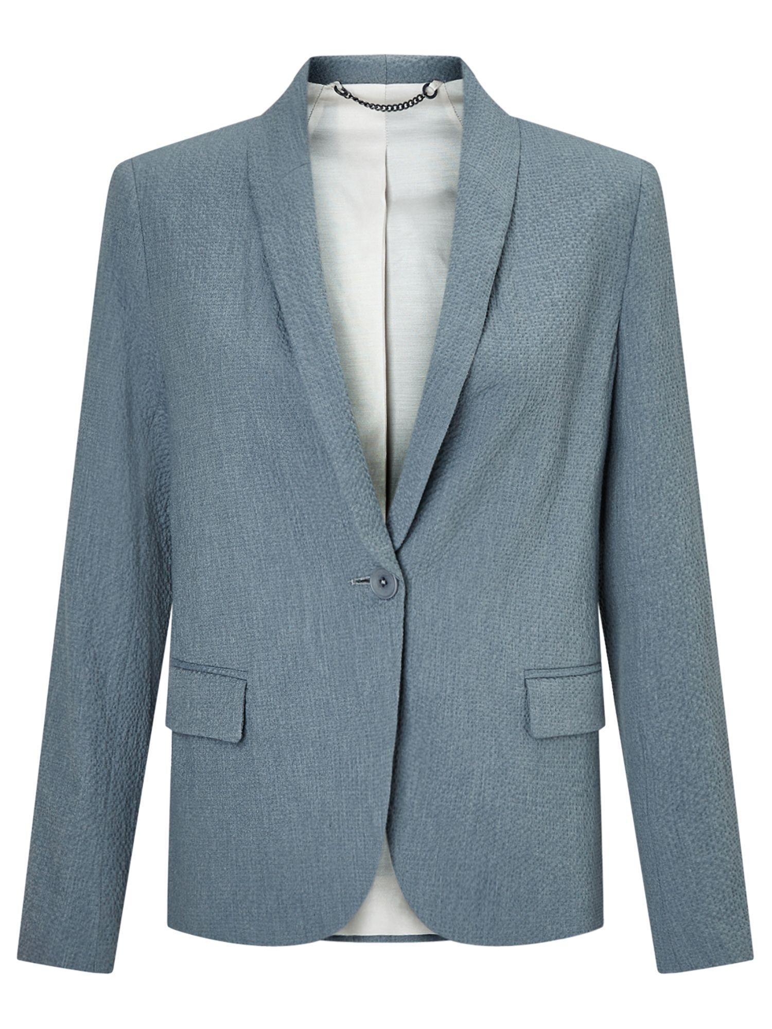Jigsaw Seersucker Portofino Jacket, Blue