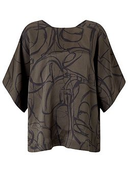 Text Anarchy Silk Kimono Top