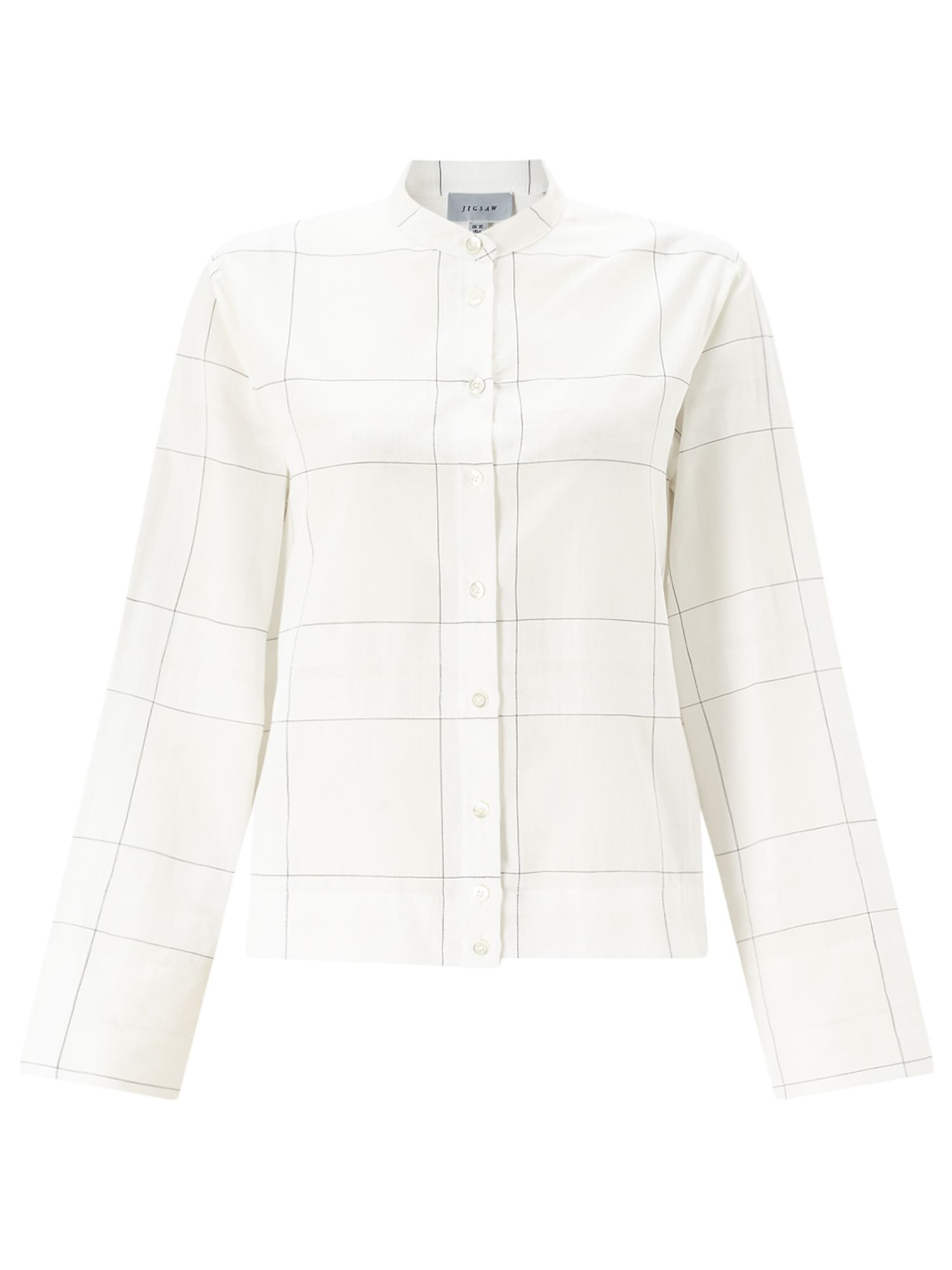 Jigsaw Window Pane Cotton Shirt, White