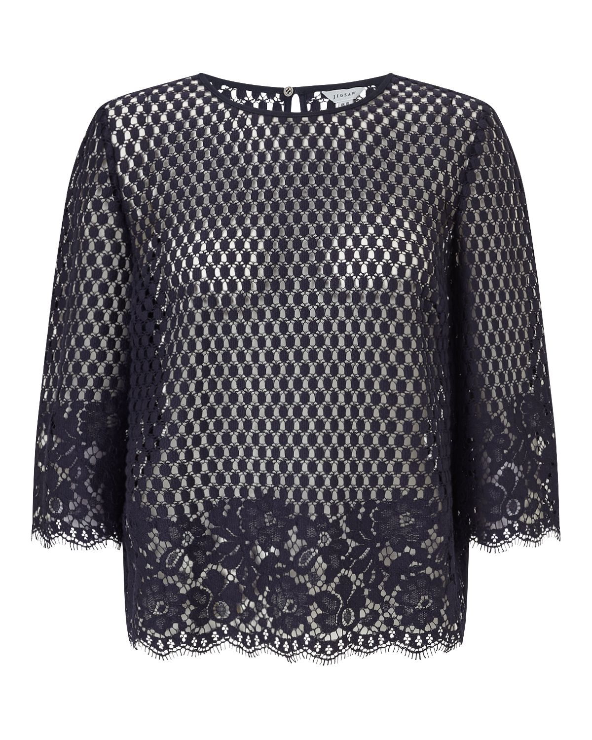 Jigsaw Engineered Floral  Lace Top, Blue