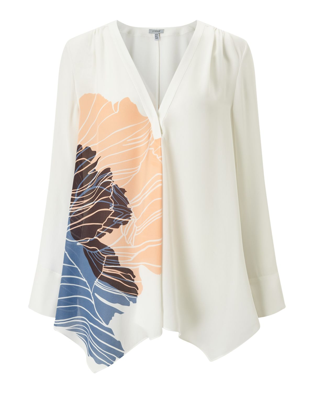 Jigsaw Floating Poppy Trapeze Blouse, Cream