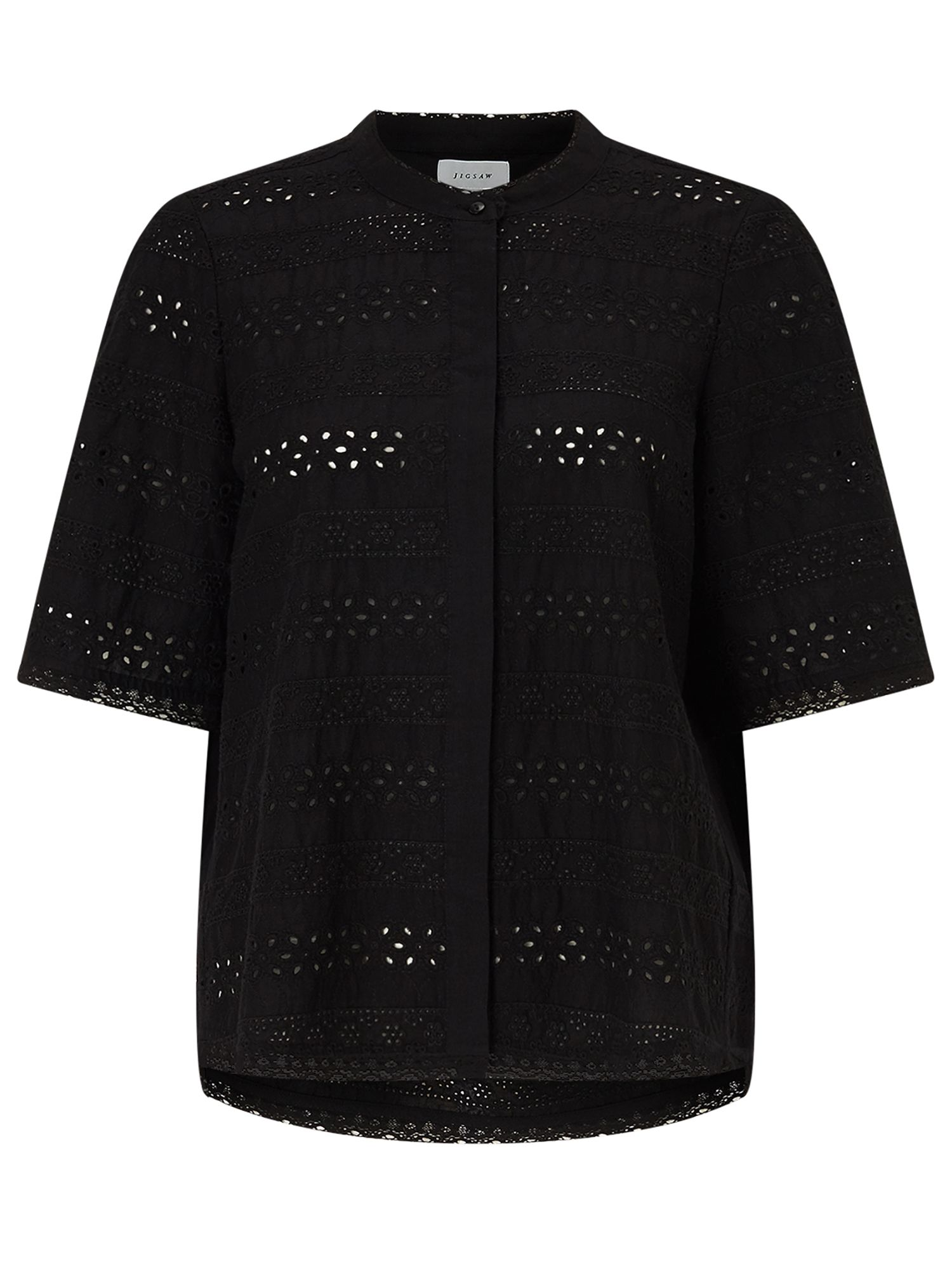 Jigsaw Broderie Cotton Shirt, Black