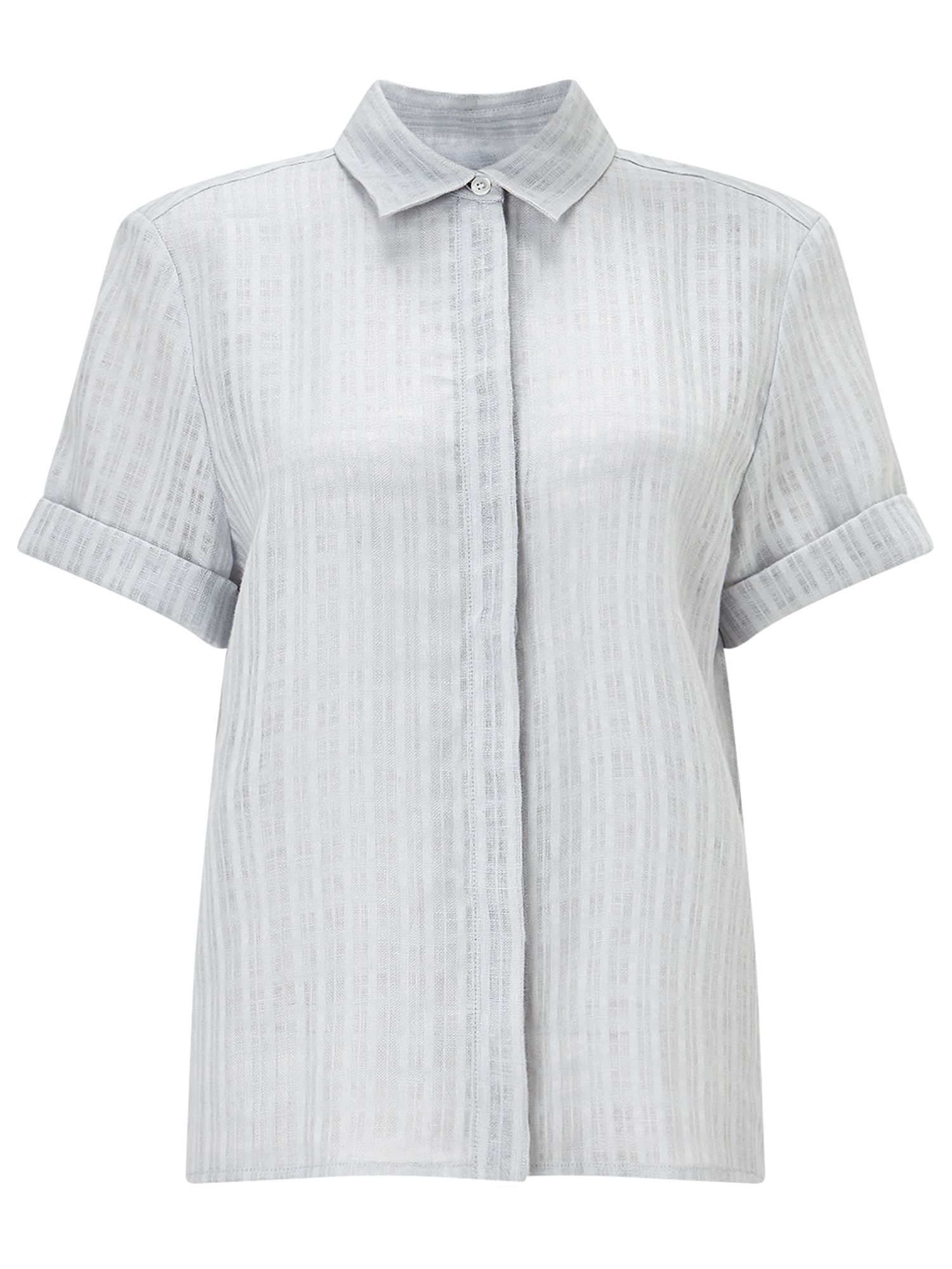 Jigsaw Short Slv Linen Check Blouse, Grey