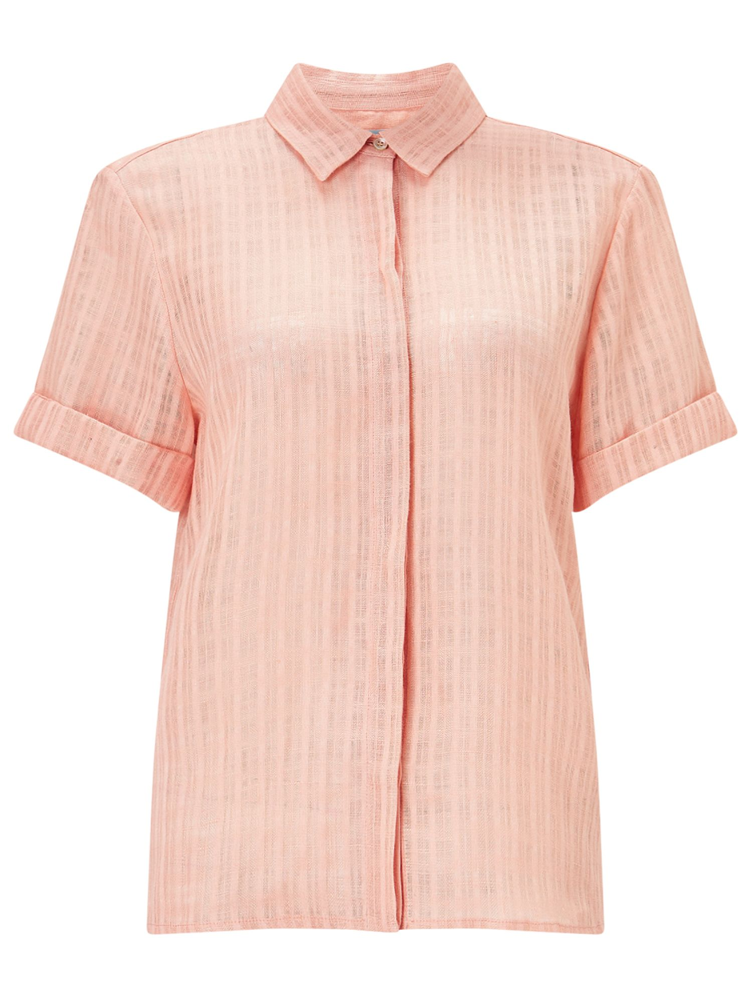 Jigsaw Short Slv Linen Check Blouse, Orange