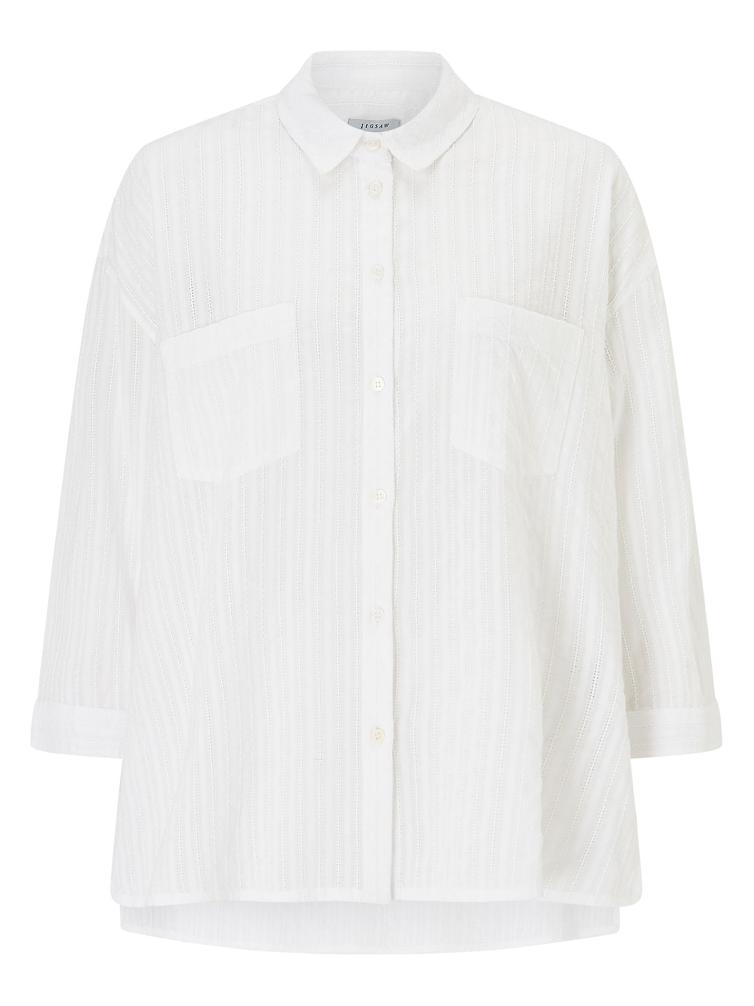 Jigsaw Embroidered Stripe Shirt, White