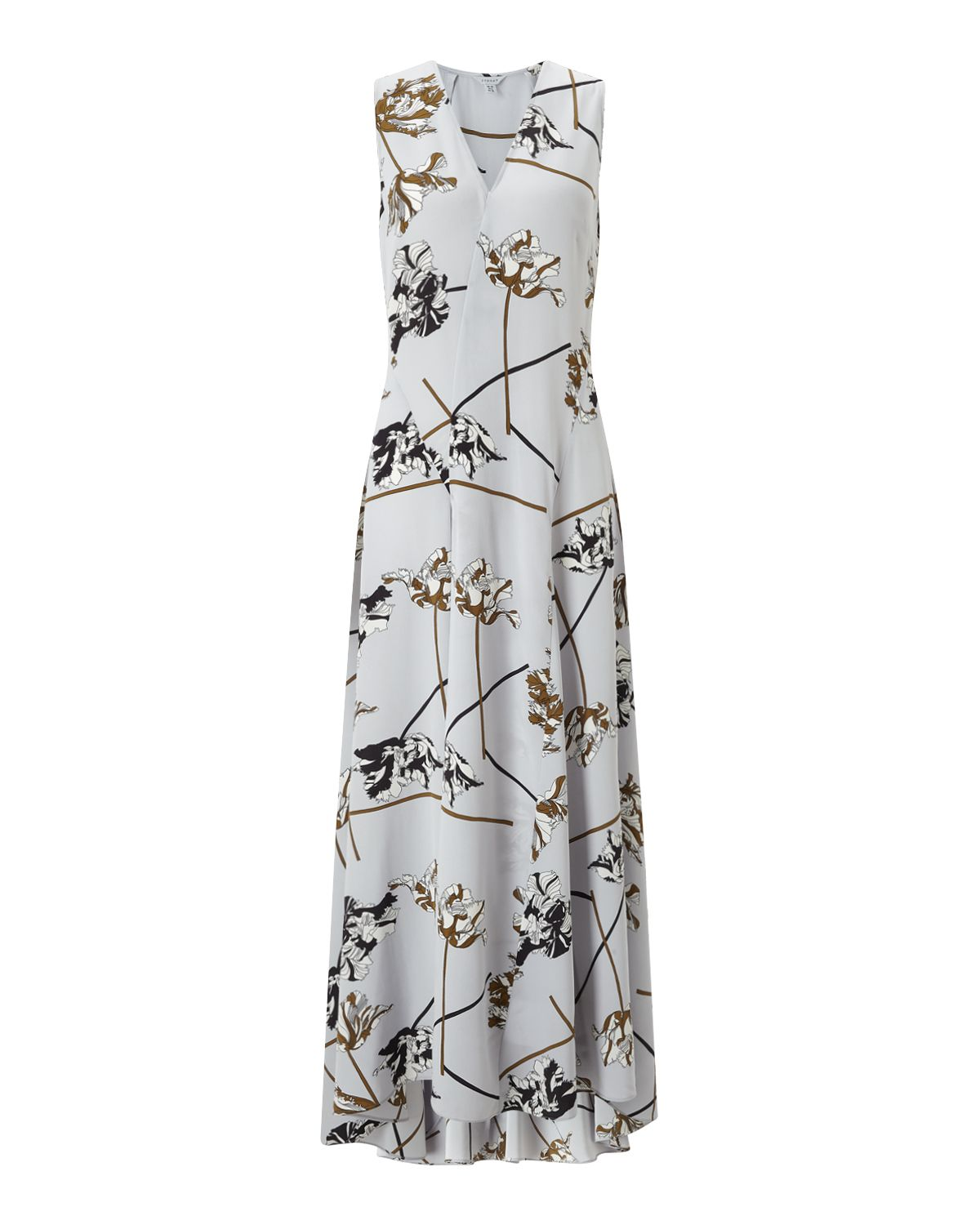 Jigsaw Dancing Tulip Silk Maxi Dress Grey