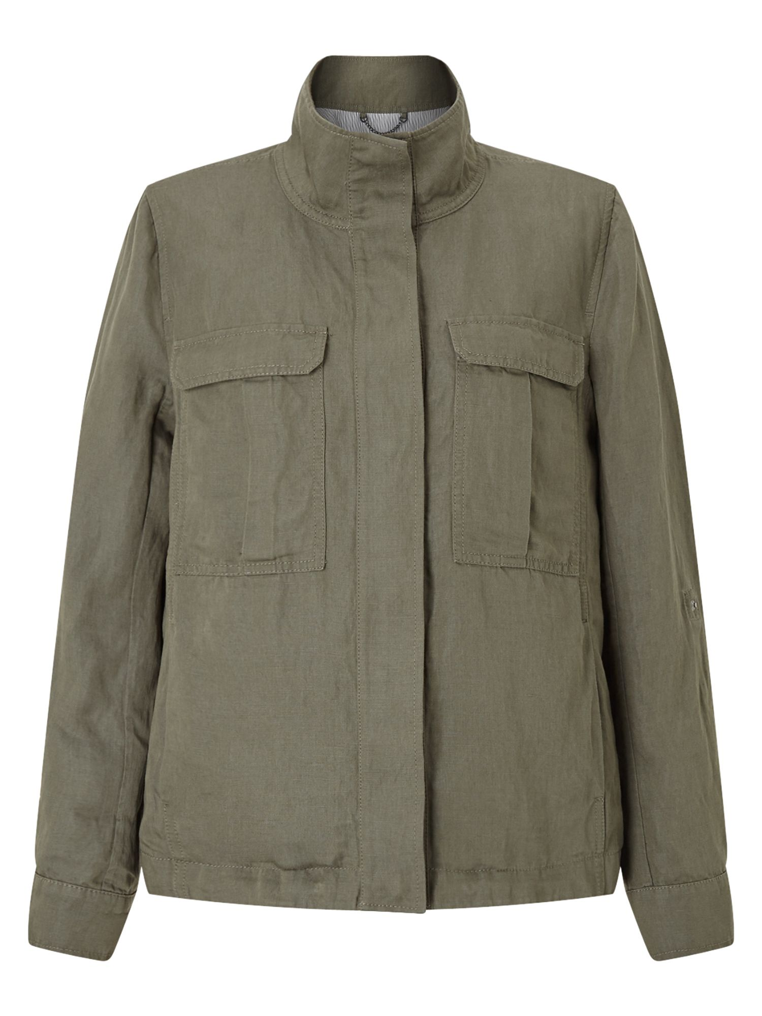 Jigsaw Linen Mix Military Jkt, Green