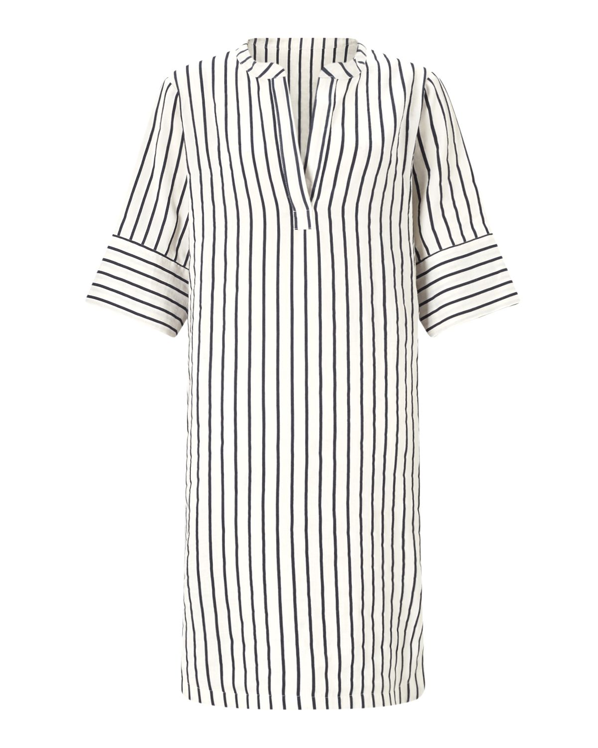 Jigsaw Stripe Linen Dress, White