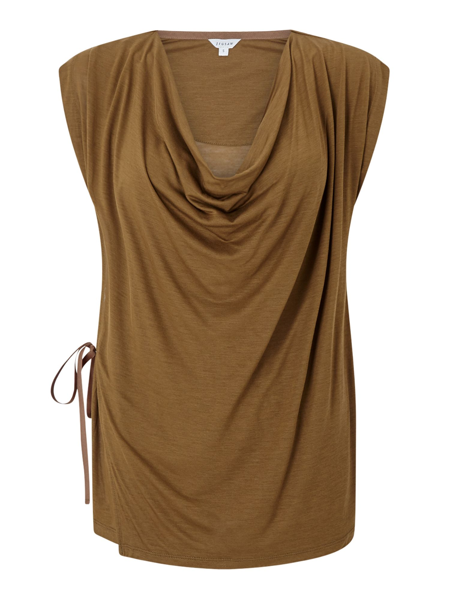 Jigsaw Sleeveless Cowl Neck Top, Khaki
