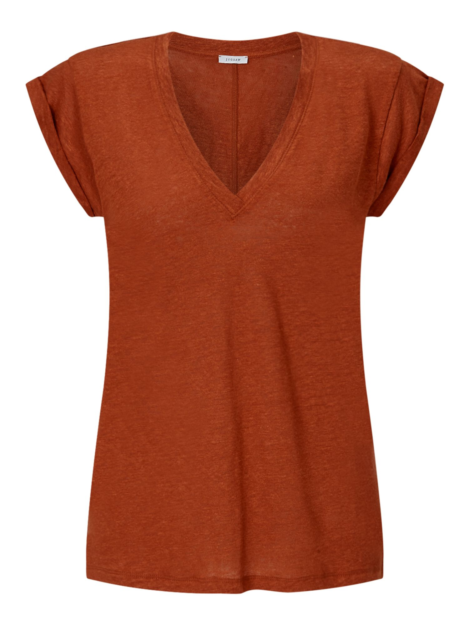Jigsaw Linen V Neck Roll Sleeve Top, Orange