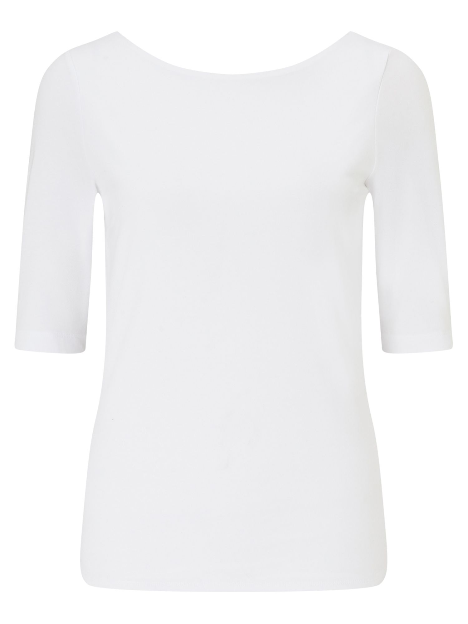 Jigsaw Double Front Ballet Neck Tee, White