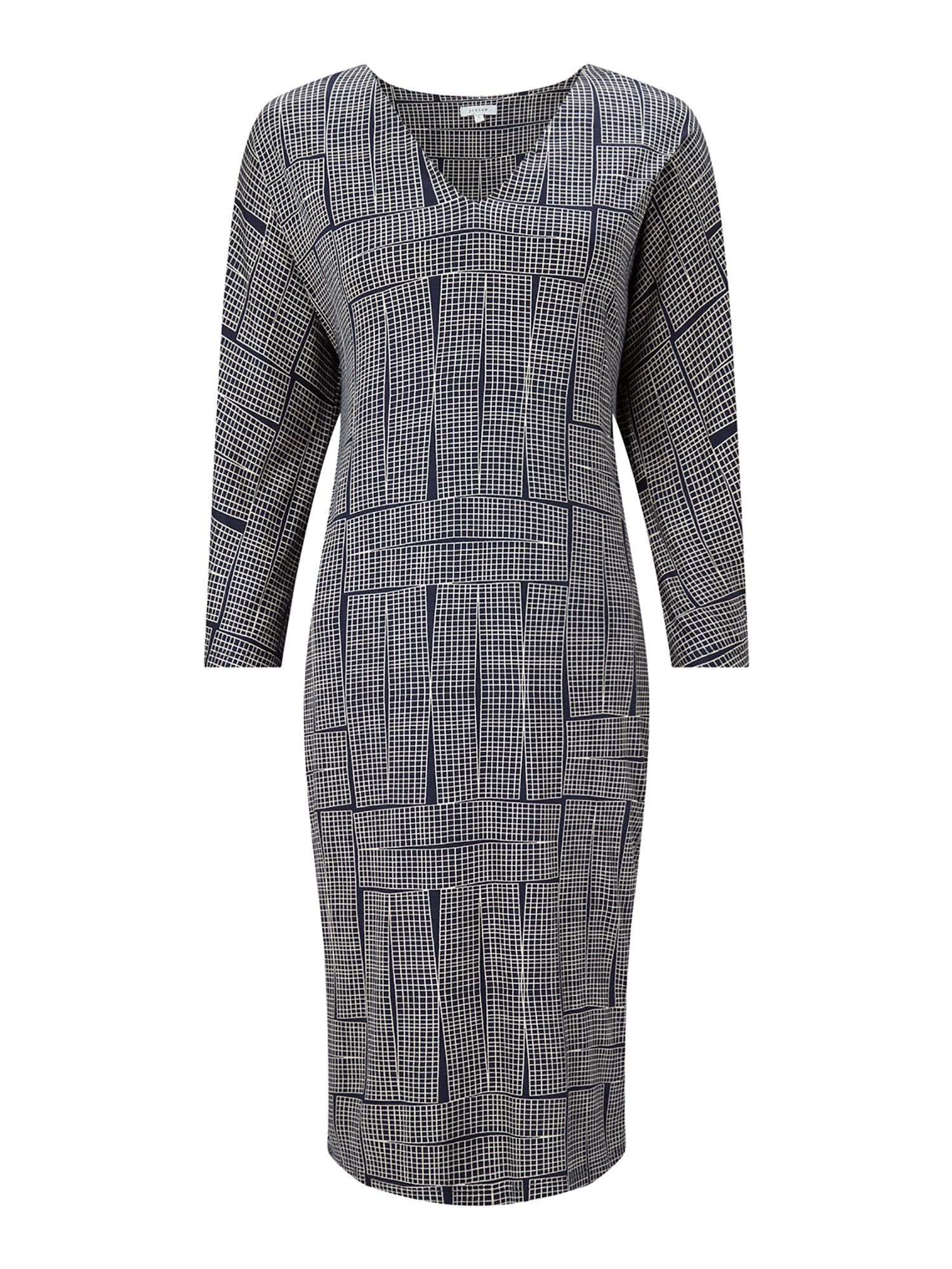 Jigsaw Stacked Grid 3/4 Sleeve Dress, Blue