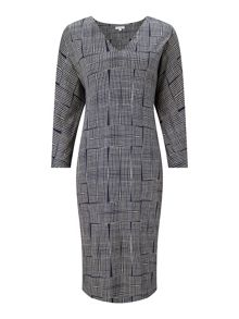 Jigsaw Stacked Grid 3/4 Sleeve Dress