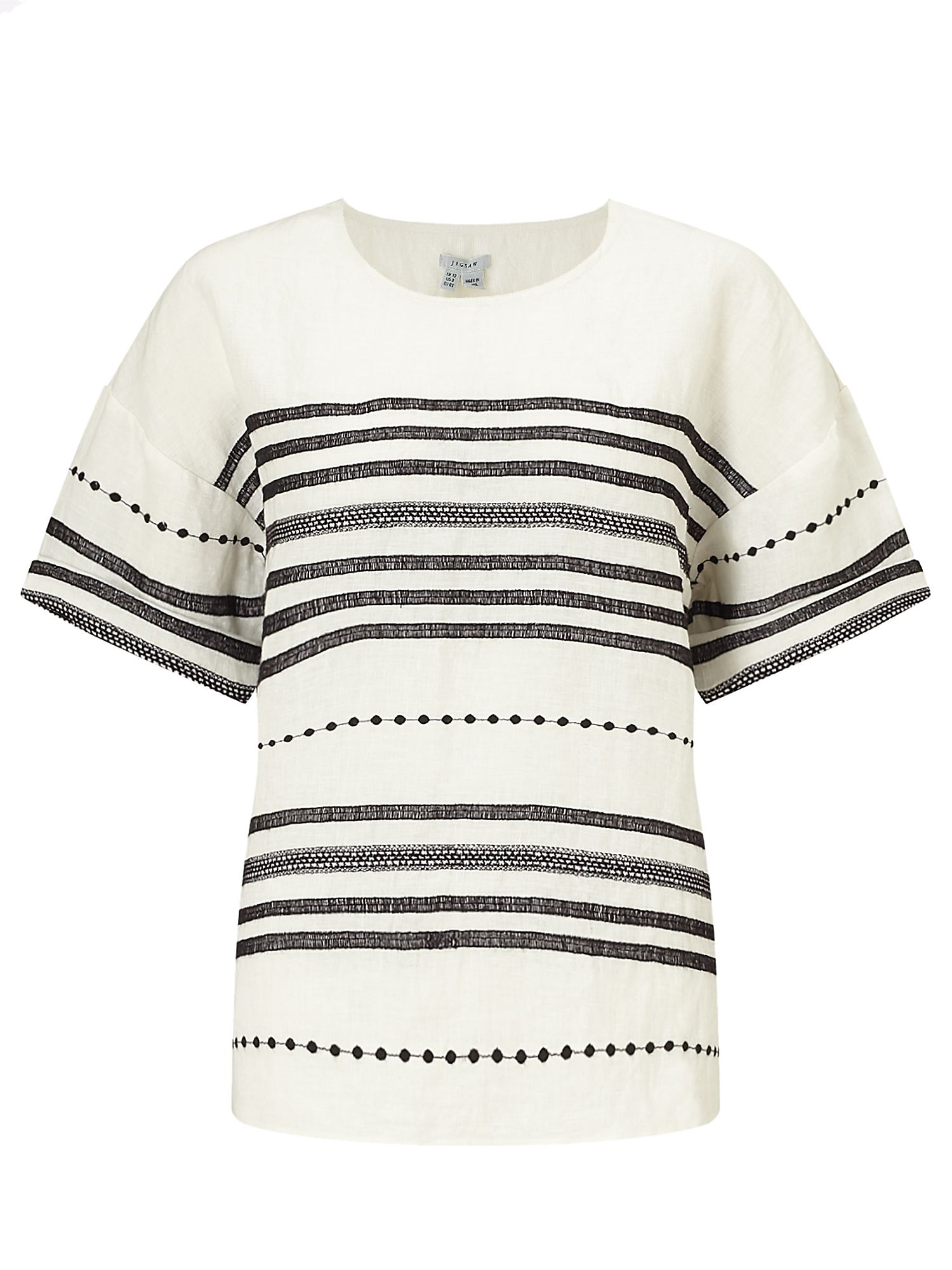 Jigsaw Stitch Detail Linen T-shirt, White