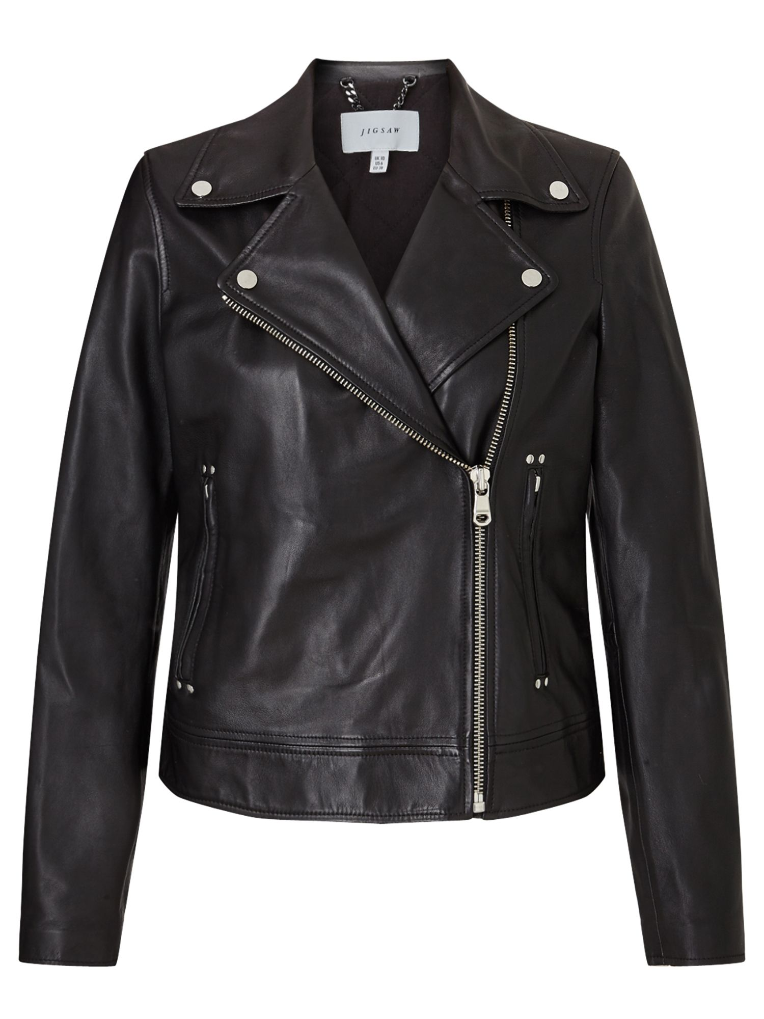 Jigsaw Washed Biker Jacket, Black