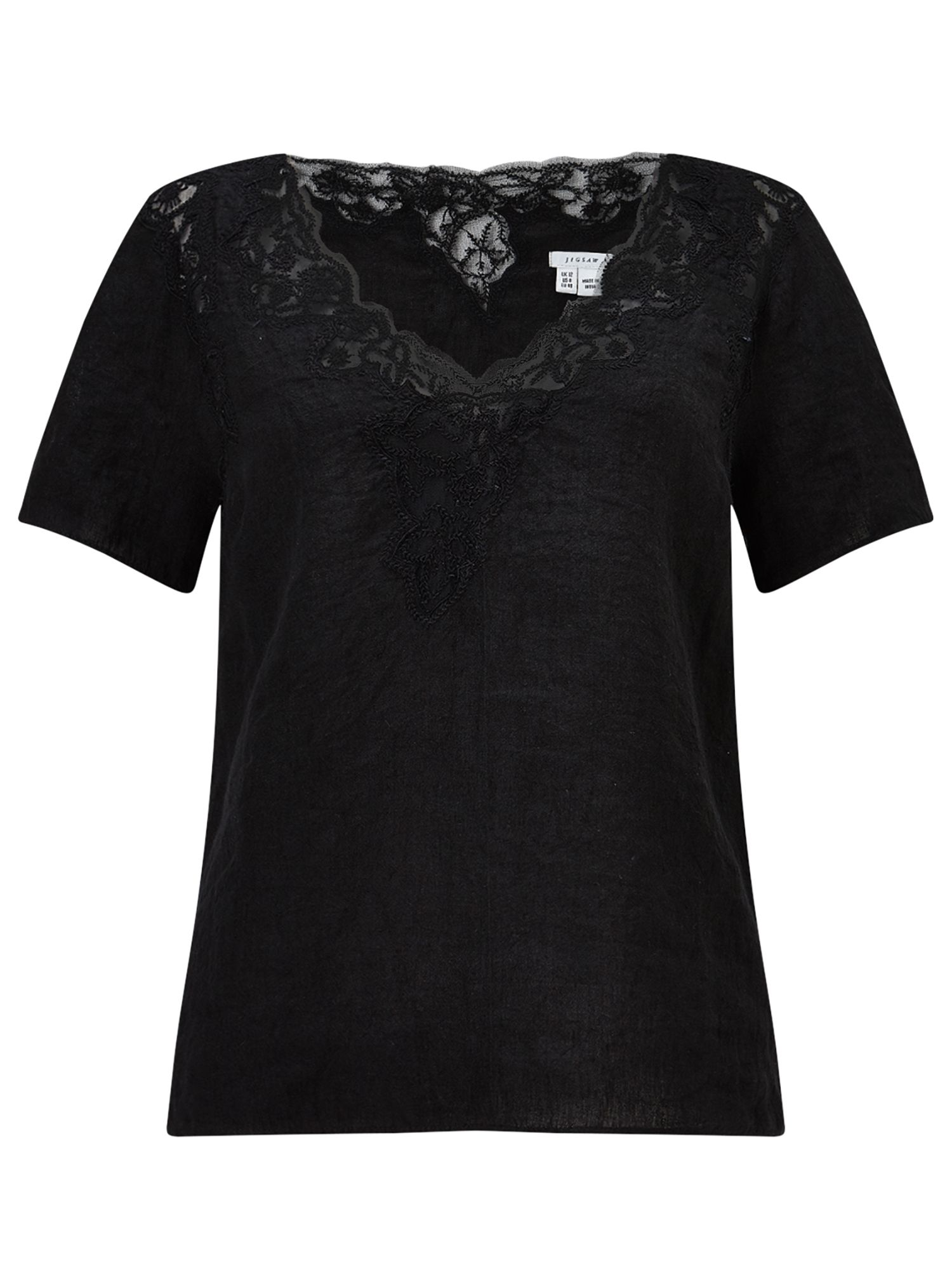 Jigsaw Floral Embroidered Linen Top, Black