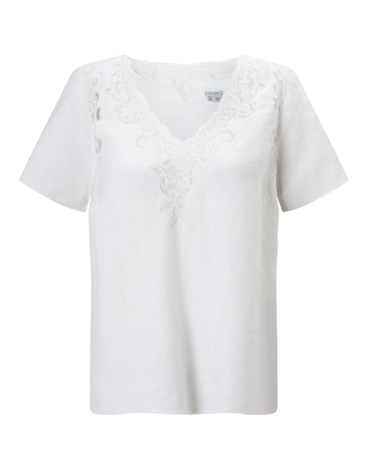 Jigsaw Floral Embroidered Linen Top, White